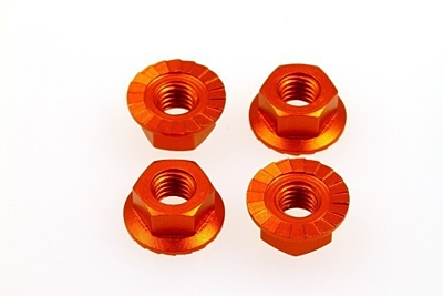 Hiro Seiko 4mm Alloy Serrated Wheel Nut (Orange·4pcs)