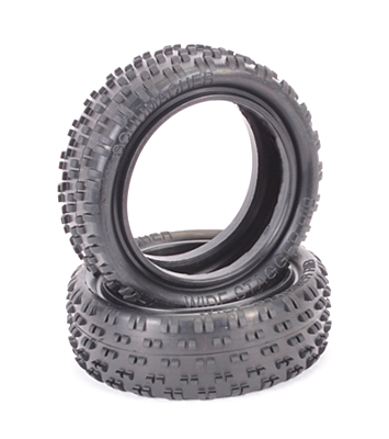 Schumacher Wide Stagger Rib - 4WD Front Tyres - Silver (Wet, 1 pair)