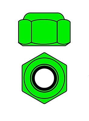 Corally Aluminium Nylstop Nut M2 (Green·10pcs)