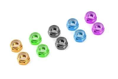 Corally Aluminium Nylstop Nut M2 (Purple·10pcs)