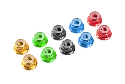 Corally Aluminium Nylstop Nut M4 - Flanged (Red·10pcs)