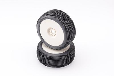 Hot Race BigAmazzonia 1/8 Buggy Medium Tires (2pcs/Preglued/White Wheels)