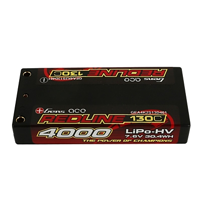 Gens ace Redline Series Shorty 4000mAh 7.6V 2S 130C HV LiPo (4mm, 125g)