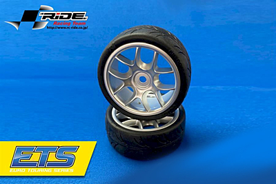 Ride 1/10 Belted Tires 24mm Pre-glued with 10 Spoke Wheel Grey (4pcs)