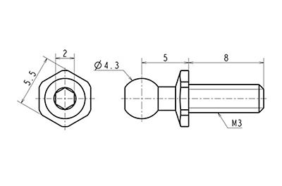 Reve D SPM Titanium Rod End Ball L (Diameter 4.3mm, Screw Length 8.0mm, 2pcs)