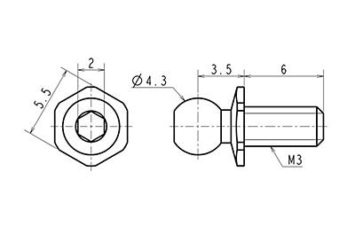 Reve D SPM Titanium Rod End Ball Short Neck (Diameter 4.3mm, Screw Length 6.0mm, 2pcs)