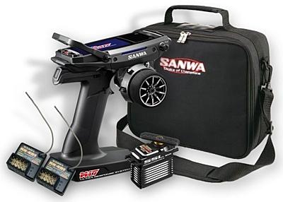 Sanwa M17 Radio + 2x RX-491 Receiver & Preinstalled Battery + PGS-XB2 Servo + Carrying Bag