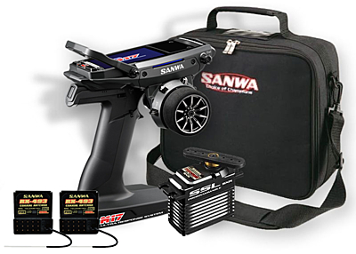 Sanwa M17 Radio + 2x RX-493 Receiver & Preinstalled Battery + PGS-XB2 Servo + Carrying Bag