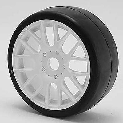 Sweep 1:8 GT-R2 Tires 40 Shore Slick Pre-Glued White Wheel (2pcs)